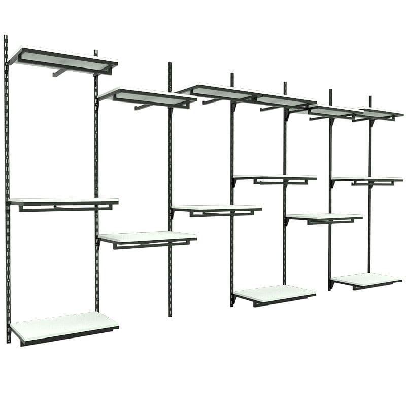 Conjunto Comac 6 estantes cremalheira e 15 prateleiras 370x200cm