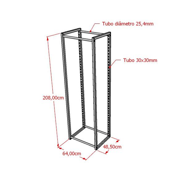 Estante Cremalheira de centro Mult simples 208x64x48,5 cm Comac