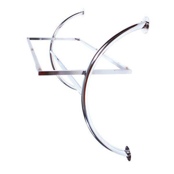 Estante de parede Comac modelo curva com 1 prateleira e 1 arara cromado