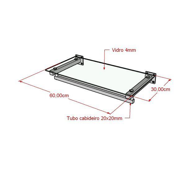Estante de parede Comac modelo quadrada Leve 60cm com 1 prateleira e 1 arara em alumínio