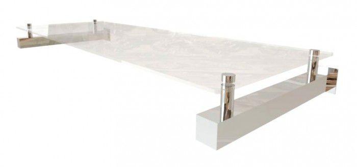 Estante de parede Comac quadrada em aluminio com 1 prateleira