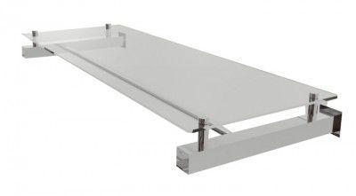 Estante de parede Comac quadrada em aluminio com 1 prateleira e 1 arara