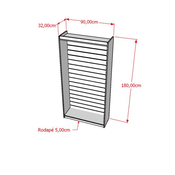 Estante Para Prateleira Painel Canaletado 100% MDF Modelo Light 90x180x32 cm Comac