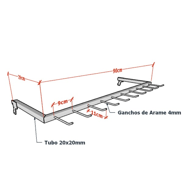 Expositor de Cintos 90 x 29 cm para Cremalheira Comac