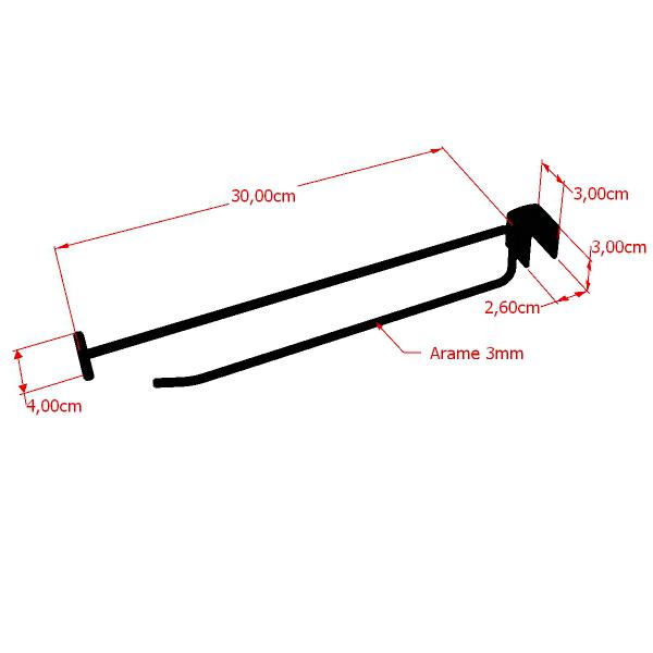 Gancho com porta preço RT para travessa de cremalheira 30 cm Comac