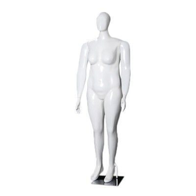 Manequim de fibra feminino Comac na cor branco ET Plus Size modelo 11M.BR