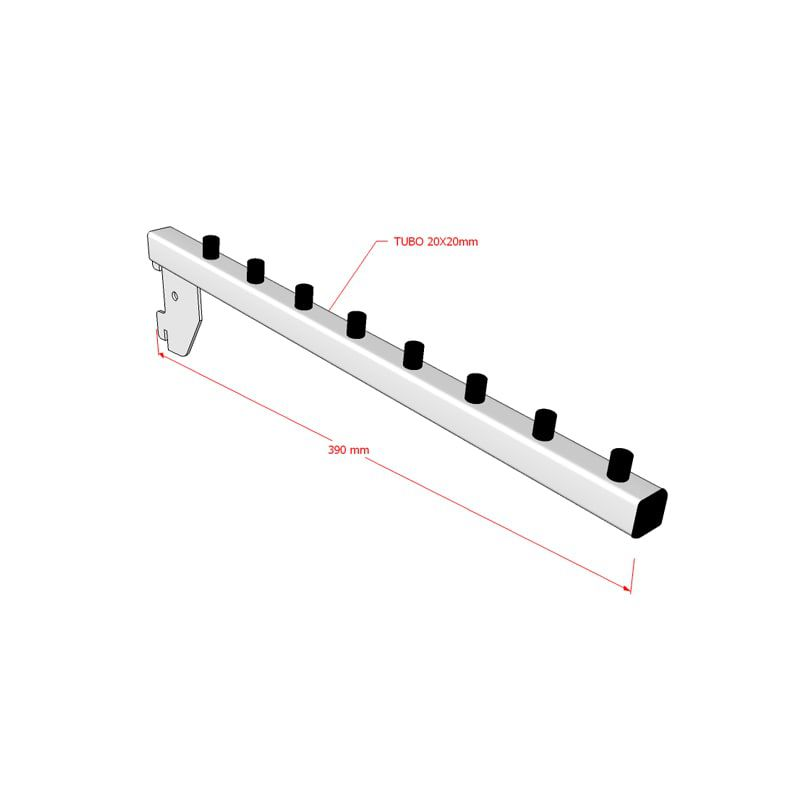 Pendurador para Cremalheira modelo inclinado 39 cm Comac