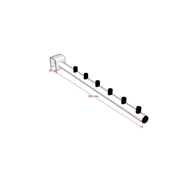 Pendurador RT inclinado redondo para travessa de cremalheira 30 cm Comac