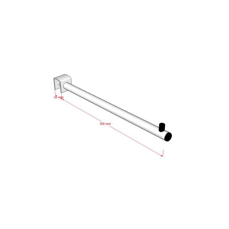 Pendurador RT reto redondo para travessa de cremalheira 30 cm Comac