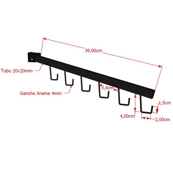 Pendurador De Bolsa e Cinto RT Reto Quadrado 39 cm Para Travessa de Cremalheira Comac
