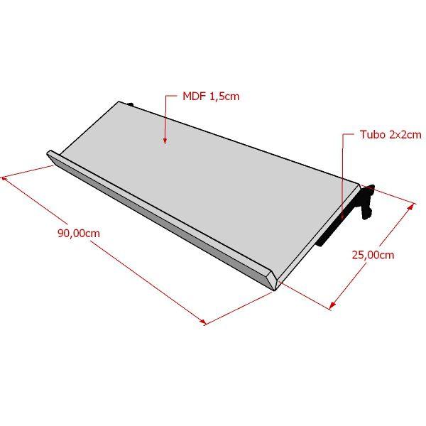 Prateleira Para Calçados Inclinada em MDF Para Cremalheira 90x25 cm Comac