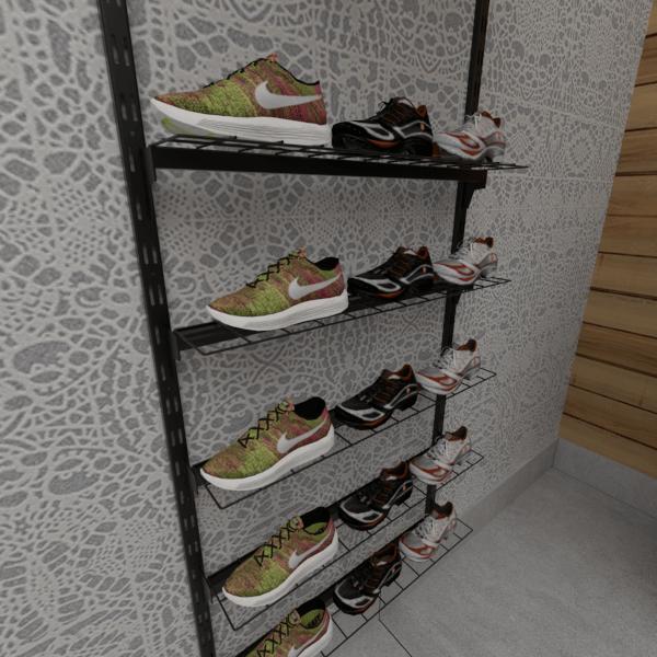 Prateleira de cremalheira modelo em tela para calçados 90X10 cm Comac