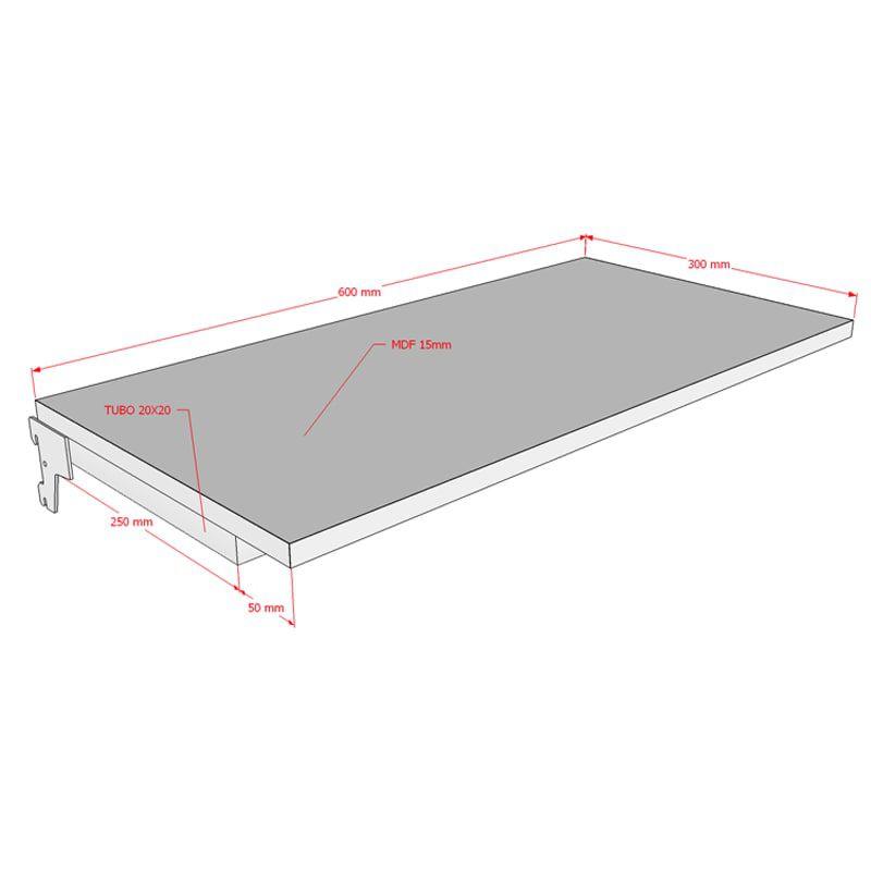 Prateleira 60x30 cm Em MDF Para Cremalheira Modelo Simples Comac
