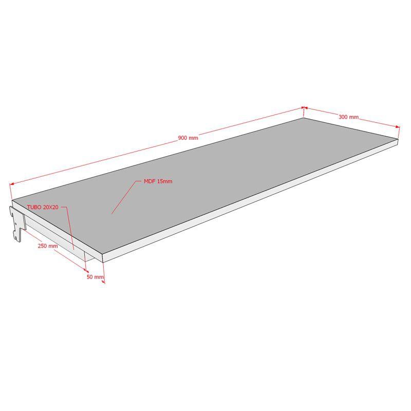 Prateleira 90x30 cm Em MDF Para Cremalheira Modelo Simples Comac