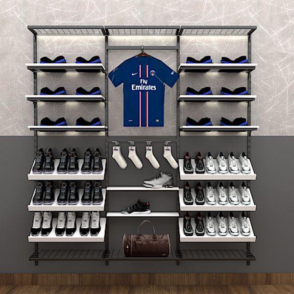 Prateleira de cremalheira em MDF modelo simples para calçados  60x12 cm Comac