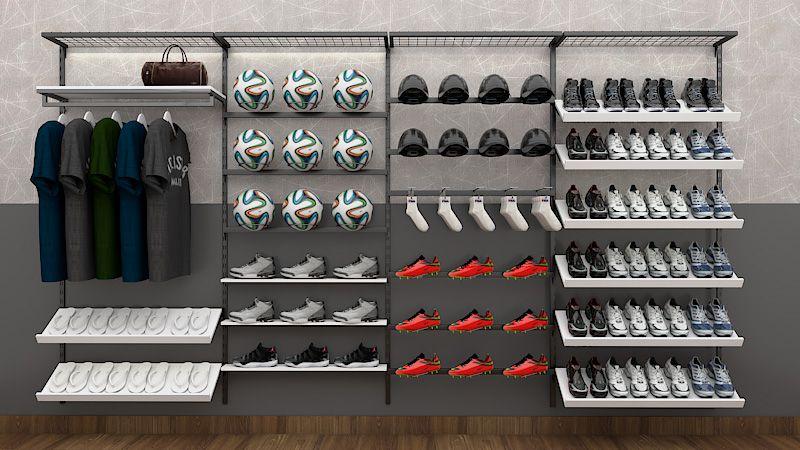 Prateleira de cremalheira em MDF modelo simples para calçados  90x12 cm Comac