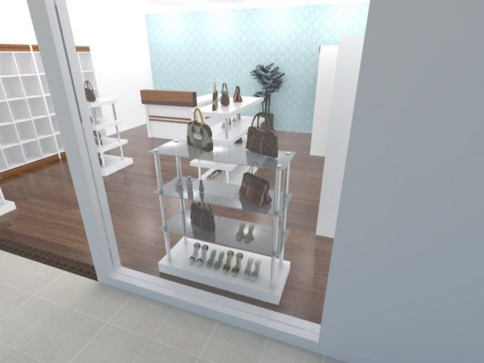 Torre para exposição modelo 4 níveis retangular com vidro 115x120x45 cm Comac