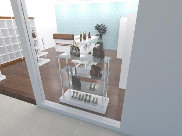 Torre para exposição modelo 4 níveis retangular com vidro 140x120x55 cm Comac