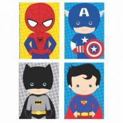 Conjunto 4 quadros Decorativo Marvel Dc Super Heróis 30x22