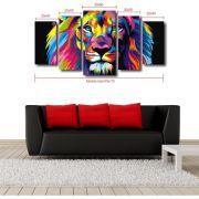 Quadro Decorativo Moderno Para Sala 5 Peças - Colorido