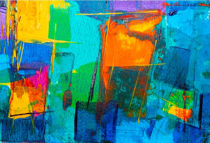 Abstrato Azul Verde Laranja