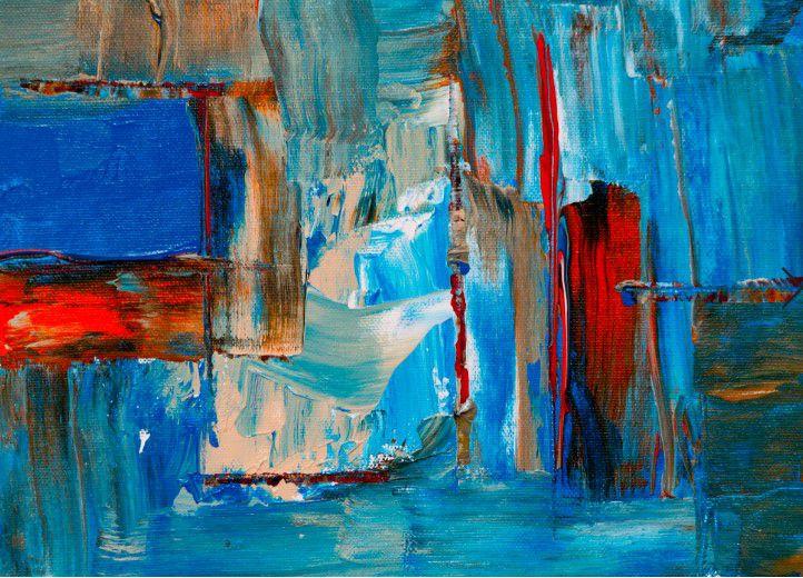 Abstrato Azul Vermelho Bege