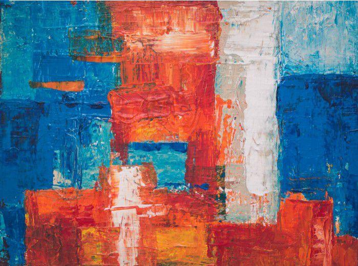 Abstrato Vermelho Azul Branco