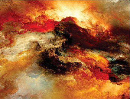 Abstrato Vermelho Branco Marrom