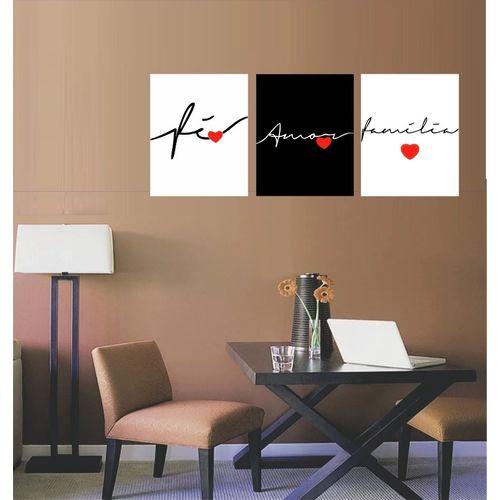 Conjunto Quadros Decorativos Fé Amor Família