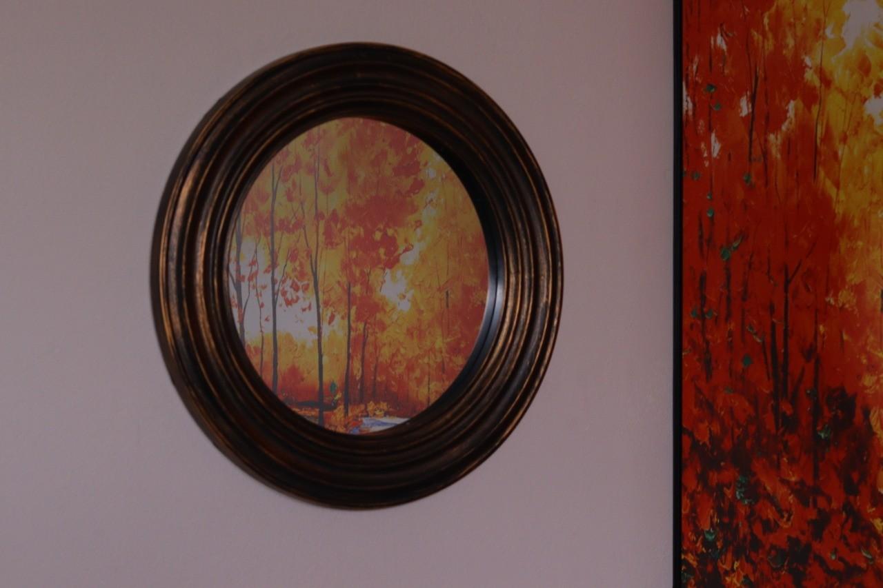 Espelho Parede Pintura estilo ouro envelhecido 51cm diâmetro