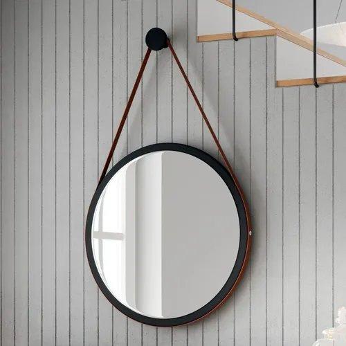 Espelho Redondo decorativo Preto com alça em couro marrom 45cm