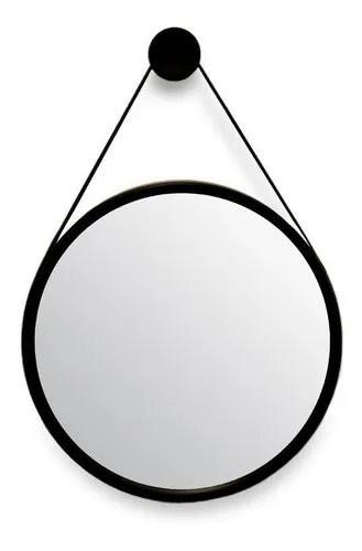 Espelho Redondo decorativo Preto com alça em couro preta 33cm
