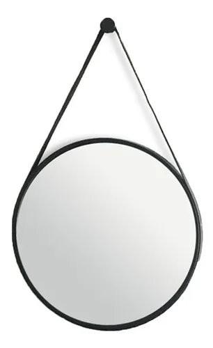 Espelho Redondo decorativo Preto com alça em couro preta 45cm