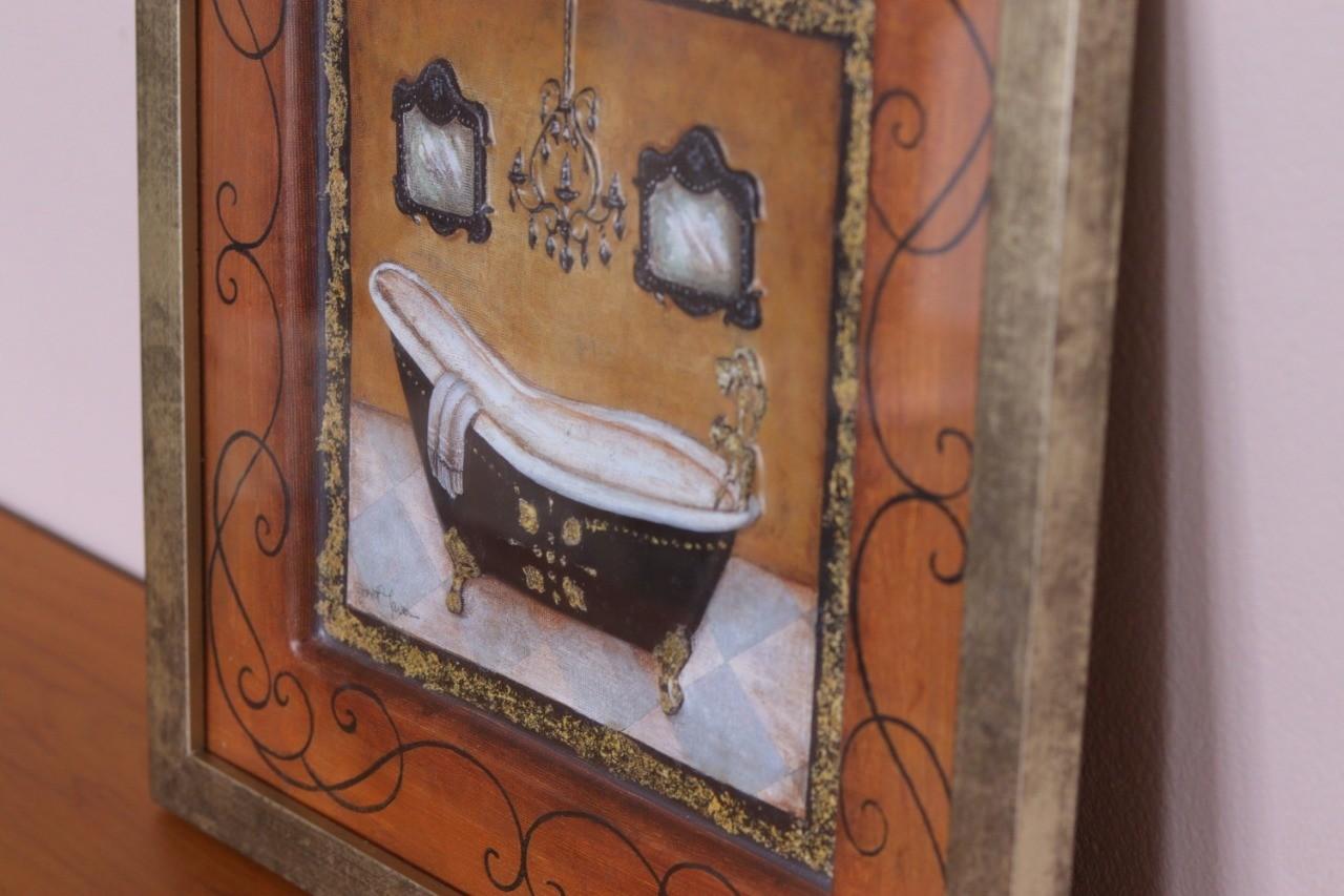 Kit 02 Quadros 3D Banheira Vintage Lateral Marrom – Lavabo