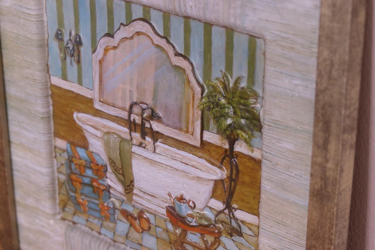 Kit 02 Quadros 3D Banheira Vintage Lateral Verde – Lavabo