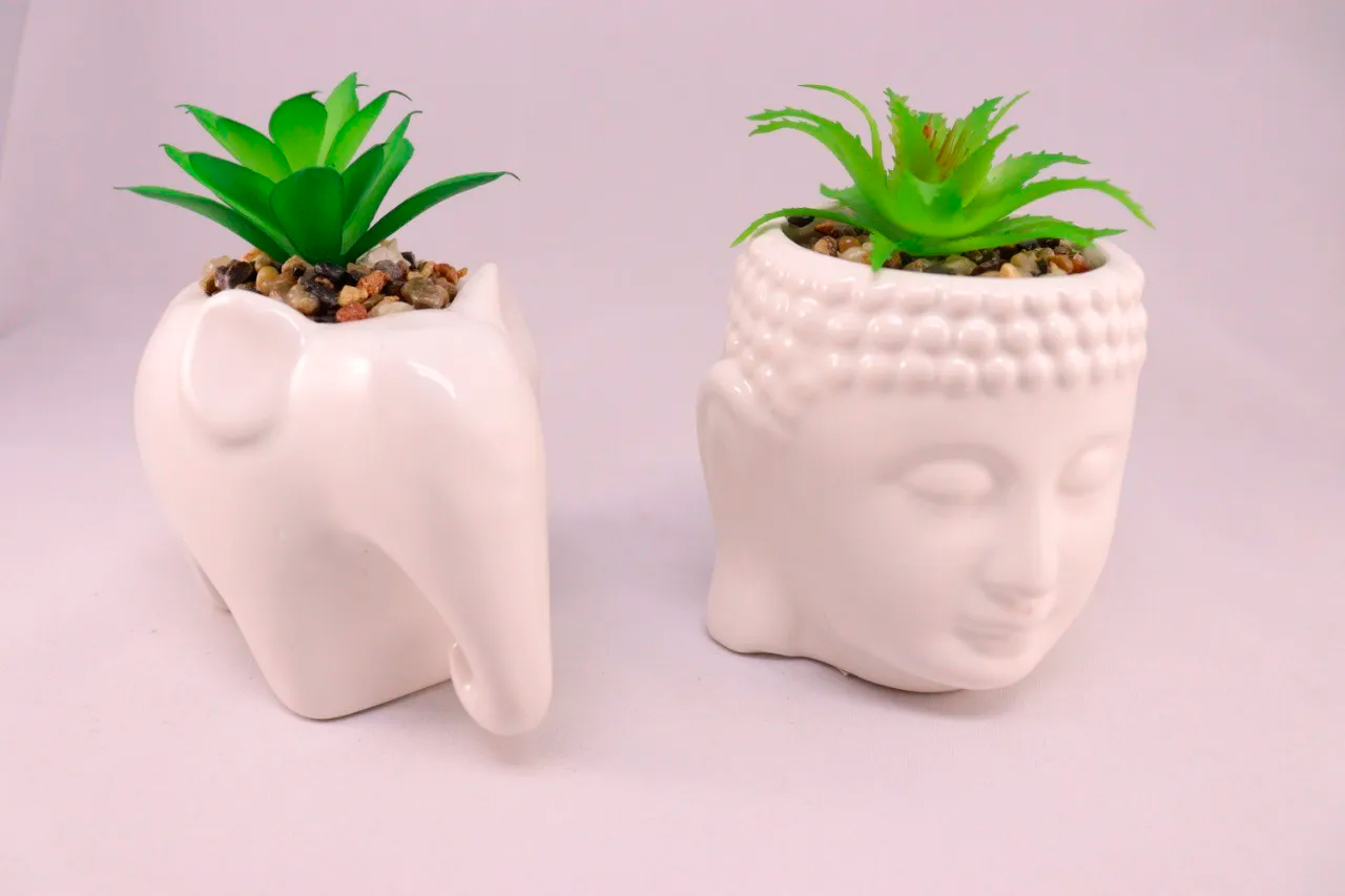 Kit Jardim Zen Mini Suculentas Vaso Cerâmica Buda e Elefante