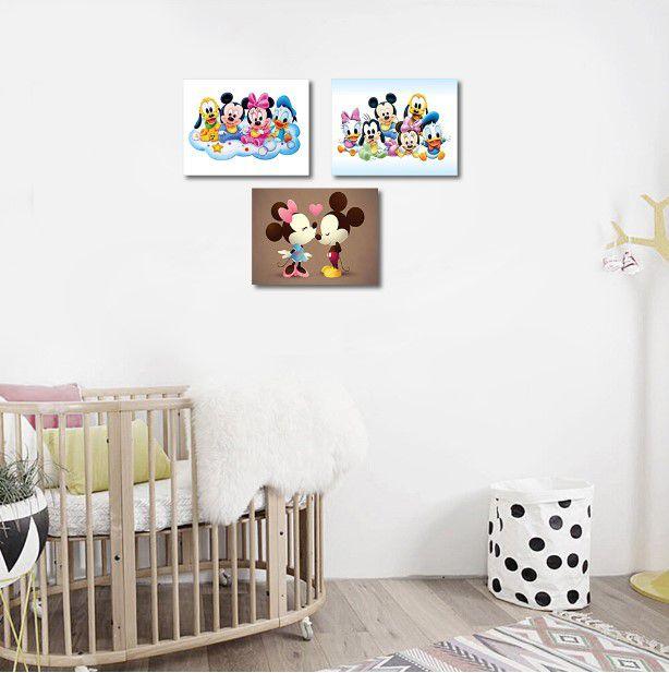 Kit Minnie Mickey Babies 03 quadros 20x30cm em Canvas