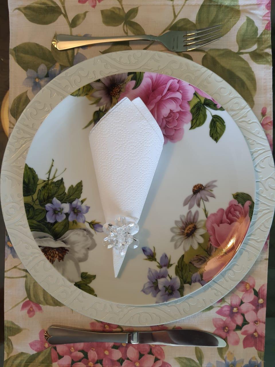 Kit Susplat Arabesco + Porta Guardanapo Flor de Perola Transparente Acrílico