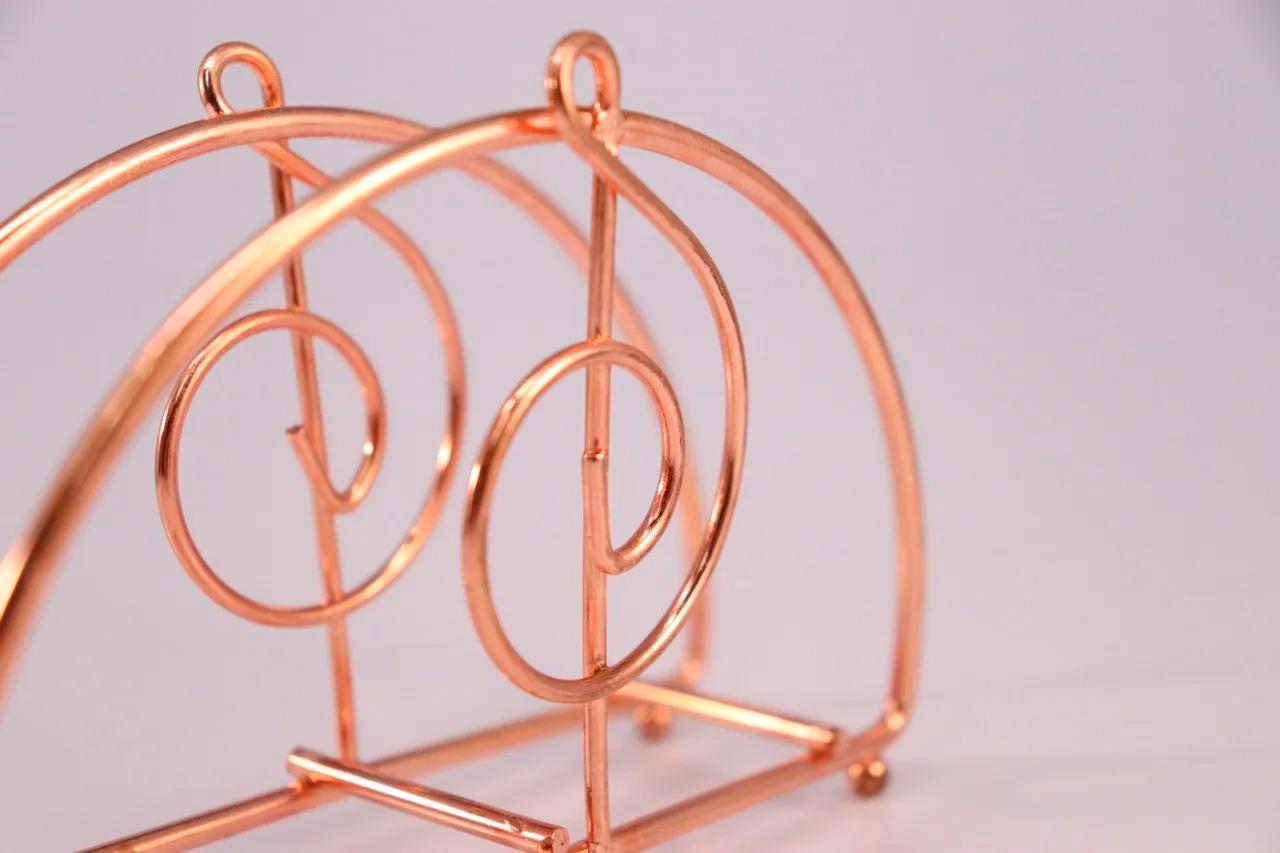 Porta Guardanapo de Metal Aramado Rosê Gold Nota Musical