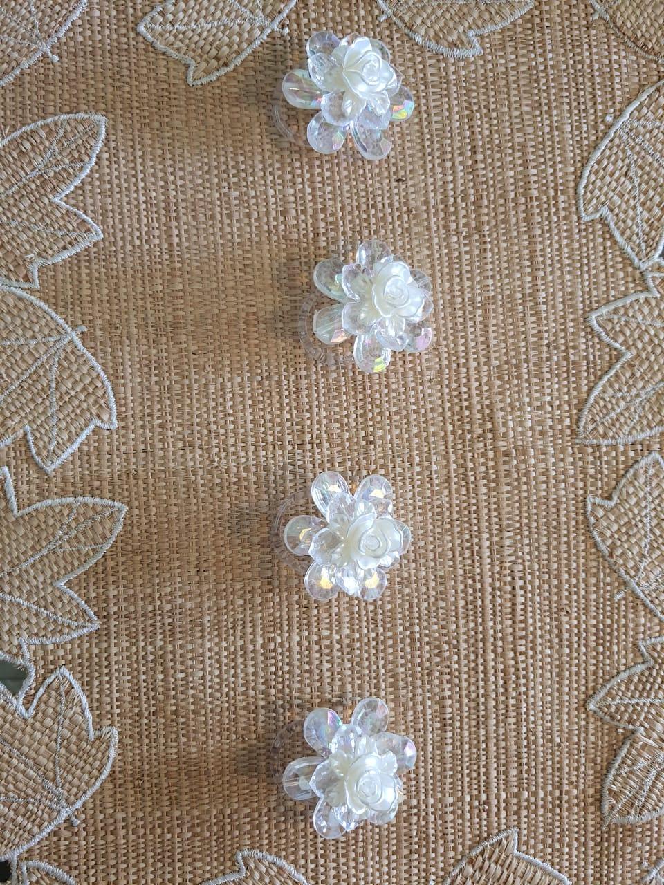 Porta Guardanapo Flor Pérola Acrílico kit com 4 peças