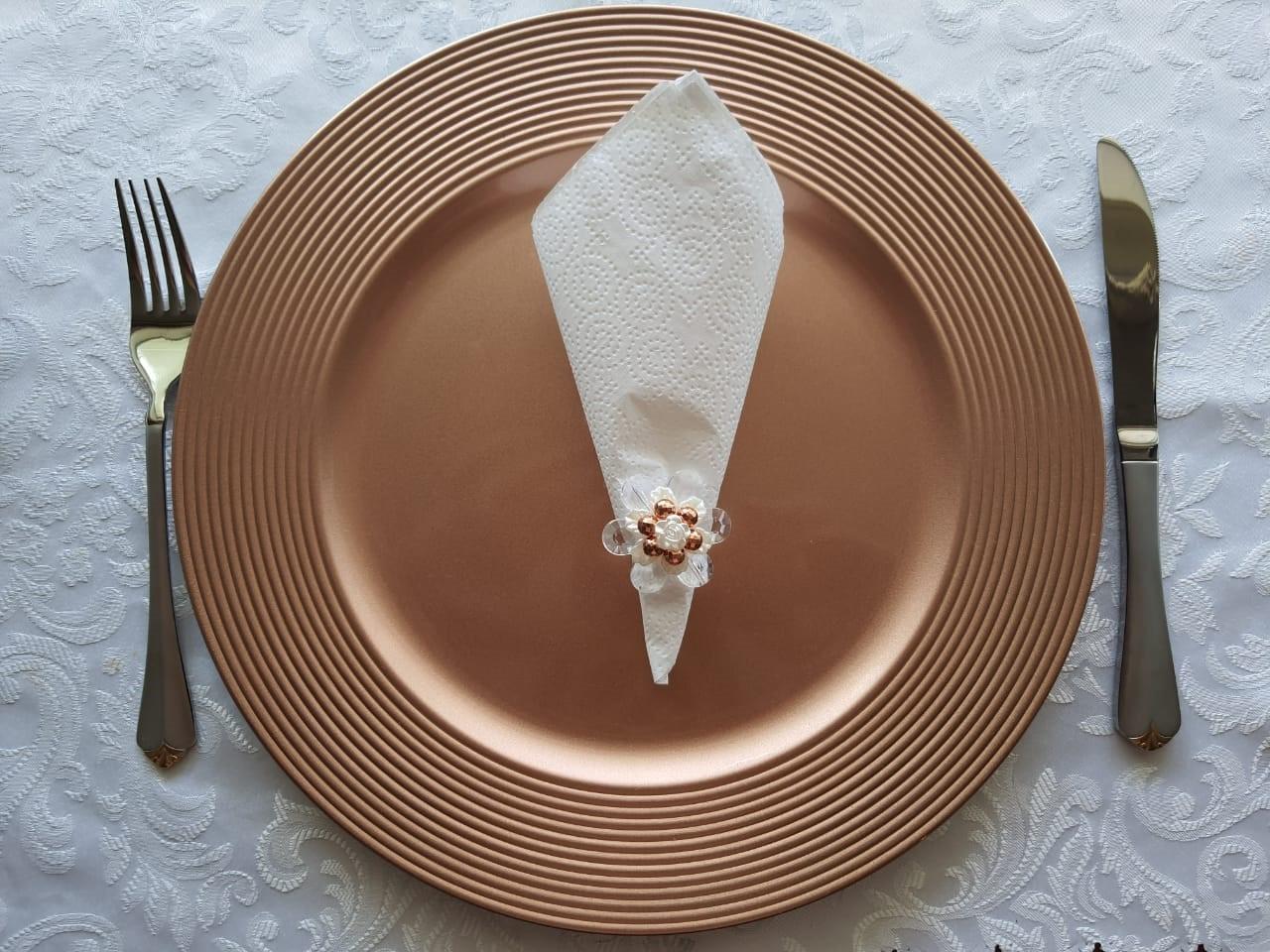 Porta Guardanapo Flor Rose Gold Acrílico com 6 peças