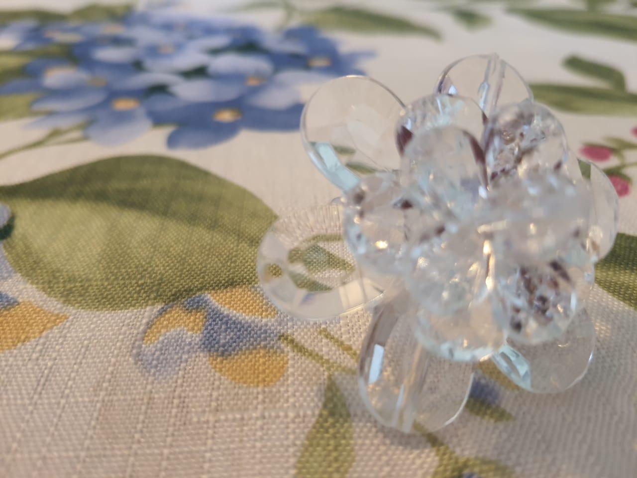 Porta Guardanapo Transparente Flor Acrílico kit com 06 Peças