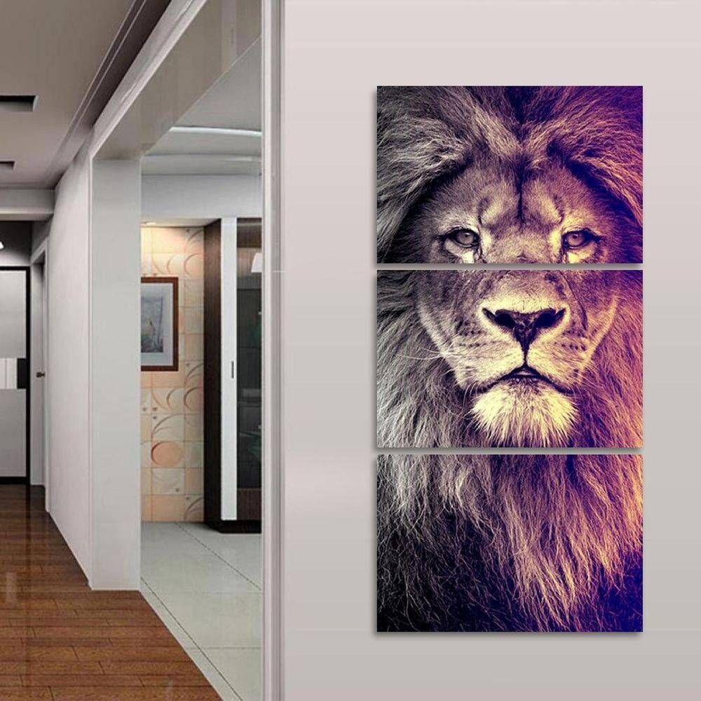 Quadro decorativo Leão Moderno Para Sala Hall 120x60