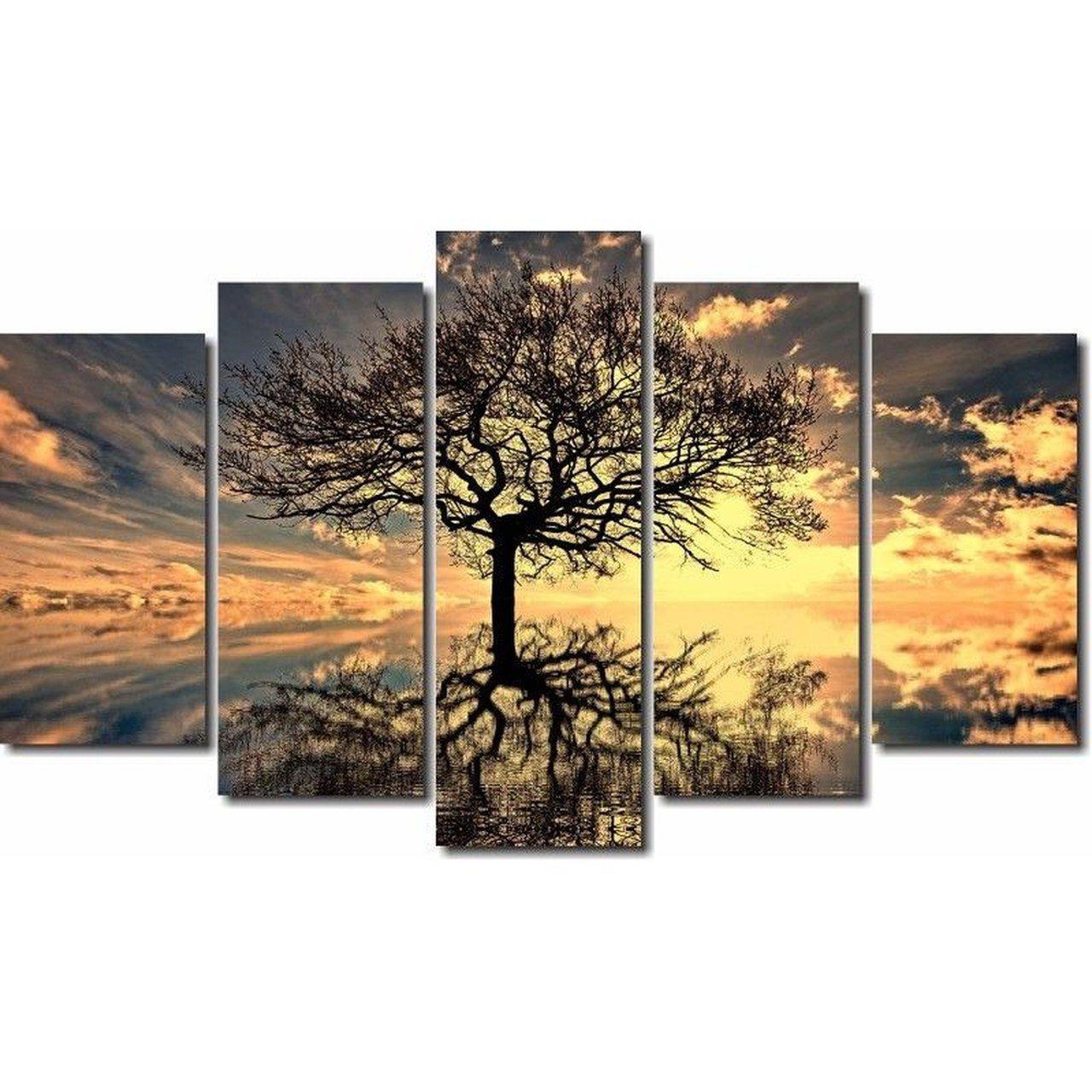 Quadros Decorativos Arvore da Vida para Sala 5 peças