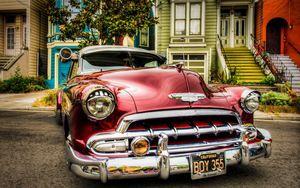 Tela Canvas Carro Vintage Vermelho