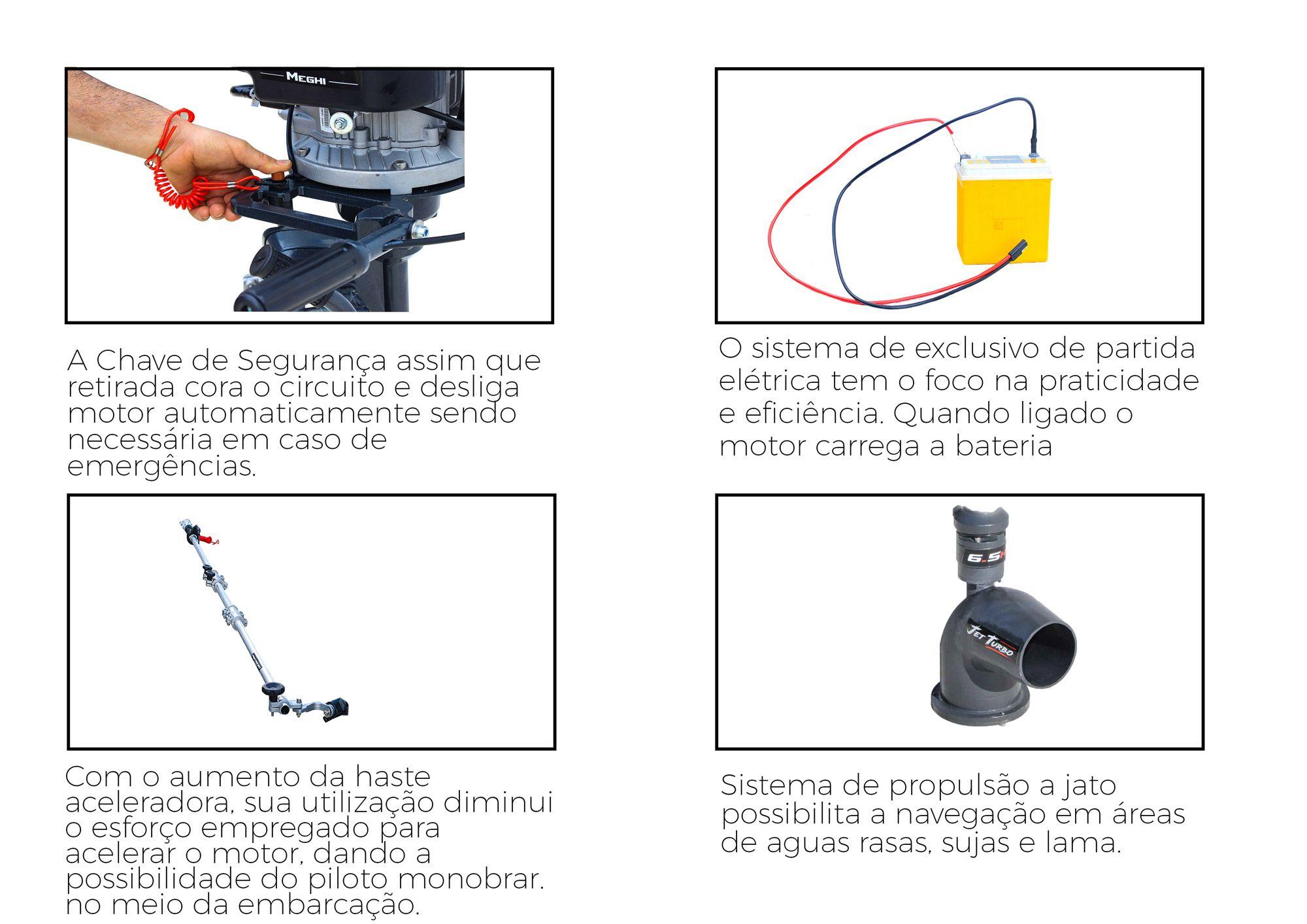 Jet Turbo Pantaneiro 6,5hp c/ Part. Elétrica, Embreagem, Chave de Segurança e Haste Aceleradora