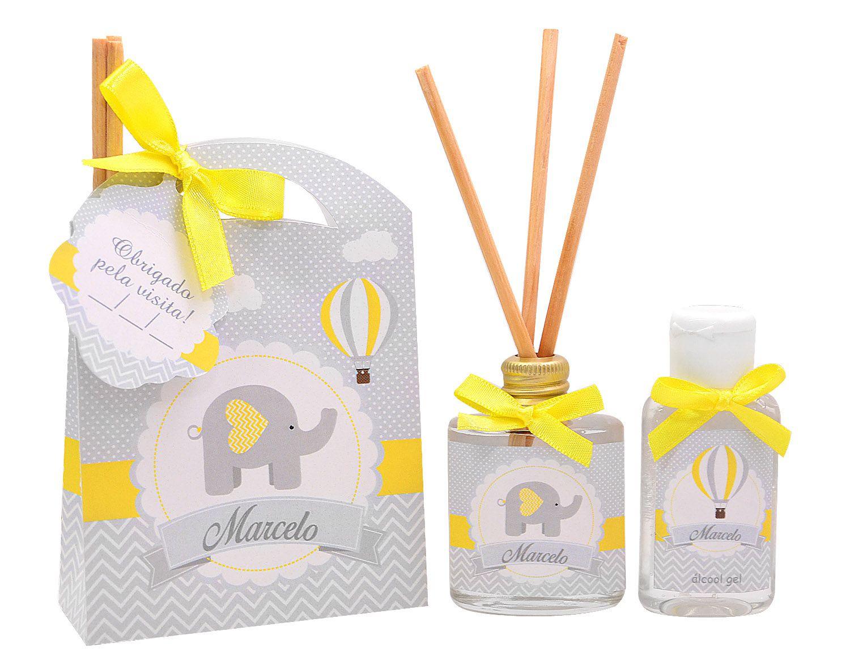 Lembrancinhas personalizadas caixinha com difusor e ambiente e álcool em gel tema chevron elefante  - Valentina Milan Lembrancinhas