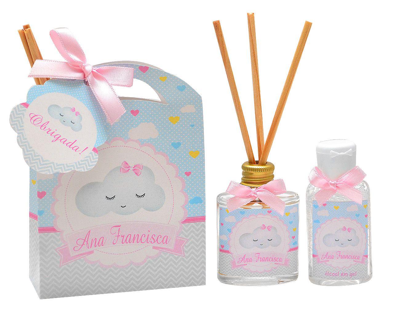 10 Lembrancinhas personalizadas caixinha com difusor e ambiente e álcool em gel tema chuva de amor  - Valentina Milan Lembrancinhas