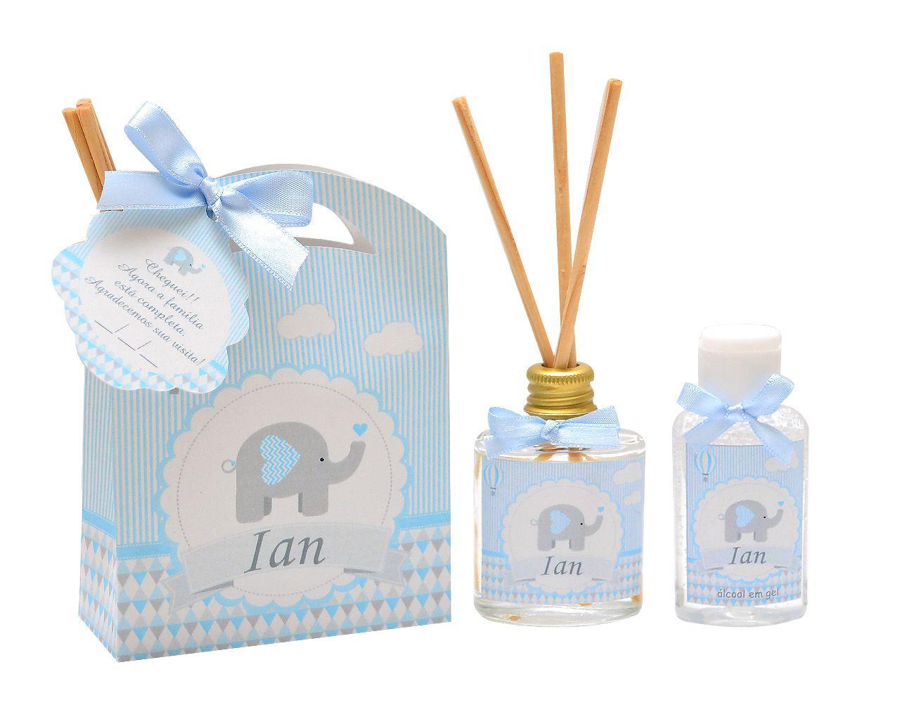 10 Lembrancinhas personalizadas caixinha com difusor e ambiente e álcool em gel tema elefantinho  - Valentina Milan Lembrancinhas