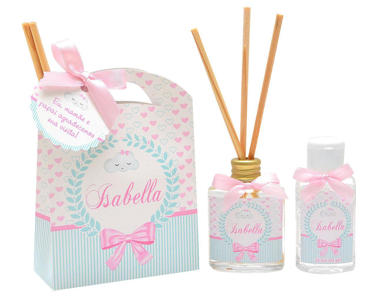 10 Lembrancinhas personalizadas caixinha com difusor e ambiente e álcool em gel tema nuvem chuva de amor  - Valentina Milan Lembrancinhas